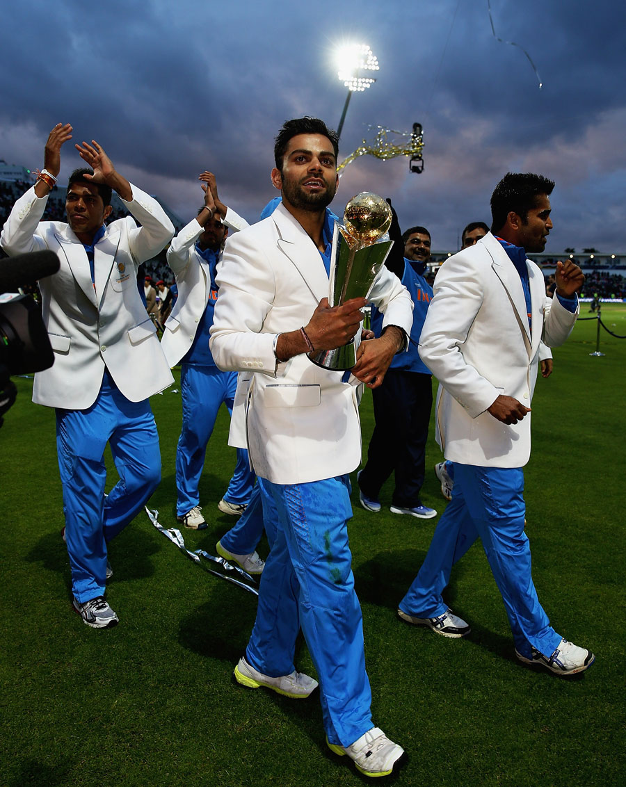 Virat Kolhi During The Victory Lap Of Champions Trophy 2013 Final