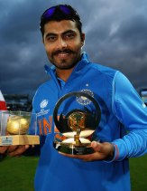 Ravindra Jadeja with the Ball of the Tournament & Man of the Match award