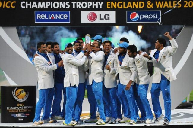 Indian Cricket Team with the Champions Trophy 2013